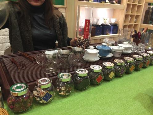 A tea shop in Tianshan Tea City